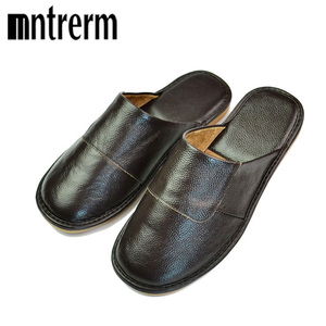 Image 2 - Mntrerm Spring Slip On Men Slippers Soft Comfortable 100% Cow Leather  Genuine Leather Shoes push large size shoe houseware