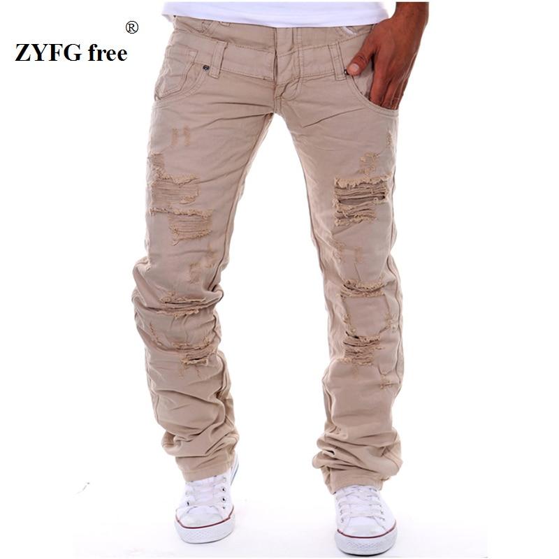Pantallona të gjata për pantallona të gjata të modës për burra 2017 të stilit të ri, shumë vrima dekorojnë pantallona popullore të rastësishme Cargo me gjatësi të plotë