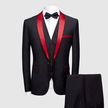 Black Red Tuxedo Men's Suits Formal Grooms