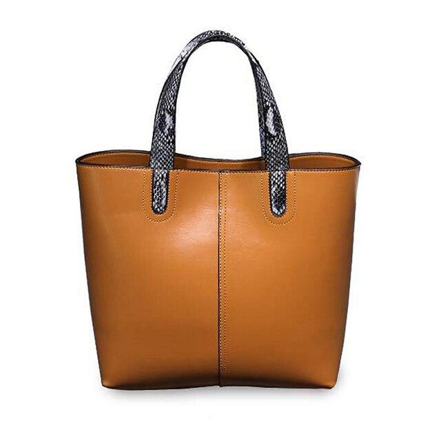 Brand Simple genuine leather female tote bags High Quanlity business shoulder bag Luxury women snakeskin pattern handle handbag