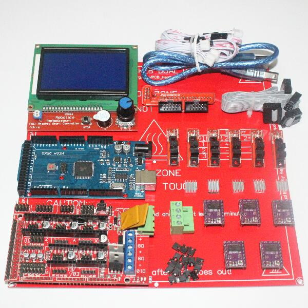 CNC 3D Printer Kit for Arduino Mega 2560 R3 + MK2B + RAMPS 1.4 Controller + LCD 12864 + 6x Optical Switch Endstop + 5x DRV8825