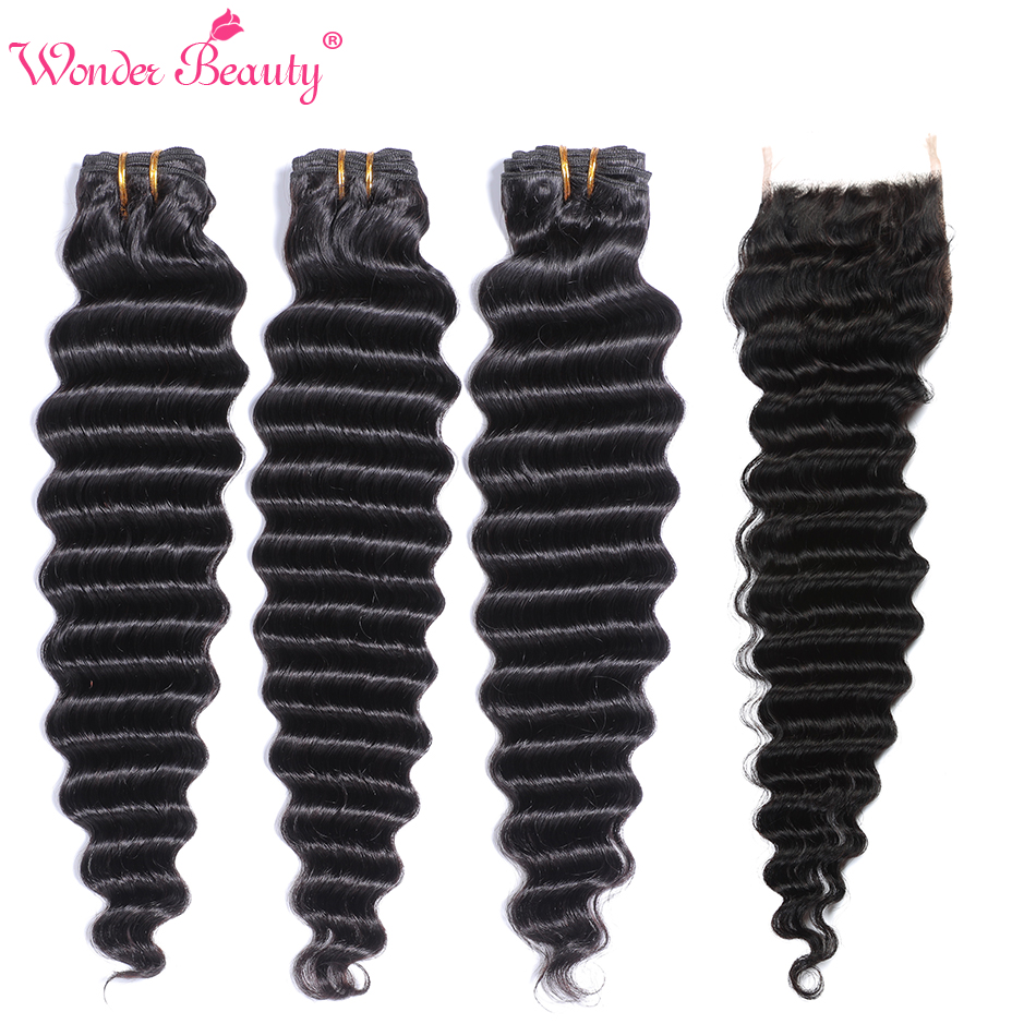 Brazilian Deep Wave Bundles With Closure Wonder Beauty 5x5 Lace Closure With Bundles Remy Human Hair Bundles With Closure