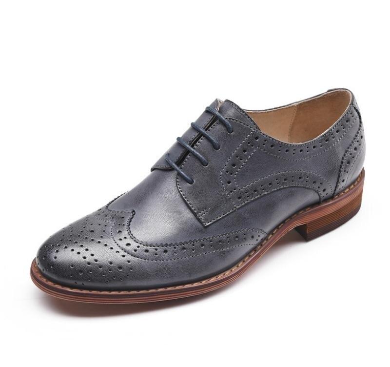 Brogue echt leer vrouwen schoenen mode toevallige carrière werk jurk schoenen vrouw oxford carving lace up platte schoenen maat 34 42 - 2