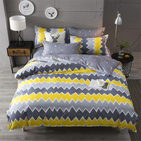 Modern Brief Style 4pcs stripe diamond yellow gray bedding sets soft duvet cover bed sheet pillowcase boy/adult gift home textie