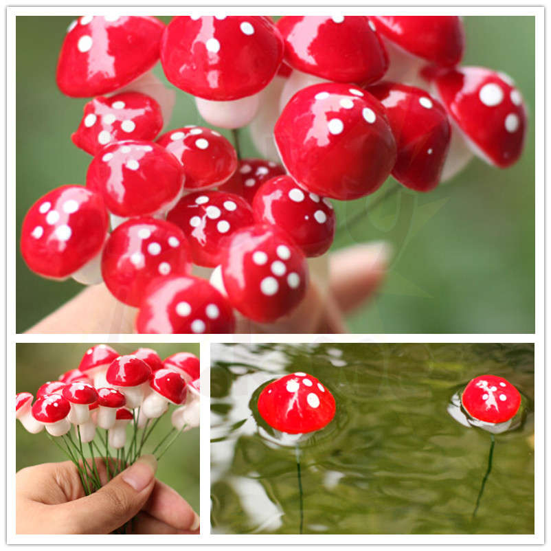 10pcs Cute resin crafts Decorations Miniature Dot Mushrooms Red fairy gnome terrarium Christmas Xmas Party Garden Decor Gift