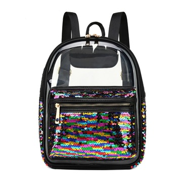 15a33eb238d5 Женский прозрачный черный рюкзак, прозрачный Модный женский рюкзак с  пайетками, летние милые рюкзаки для отдыха