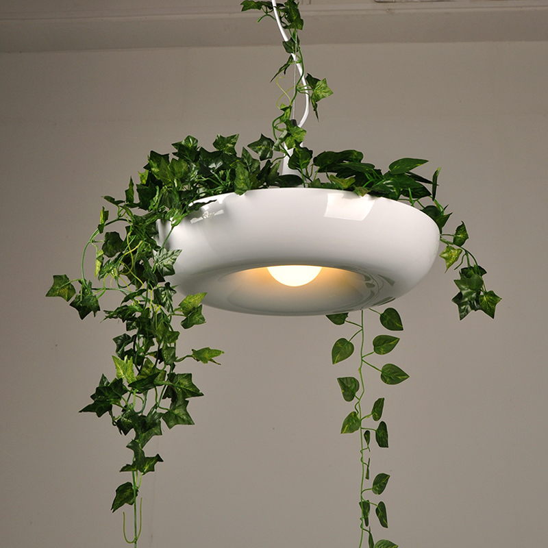 Modern Hanging Garden of Plants Lamp Nordic Creative White Chandelier Lighting Without Plants and Flowers nature home decoration handheld waterproof gardens plants flowers soil ph