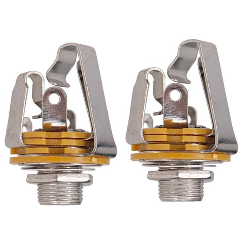 2Pcs 1/4 inch 6.35Mm Stereo Input Jack Plug Socket For Electric Guitar Bass, Guitar Pickup Output Jack, Guitar Parts