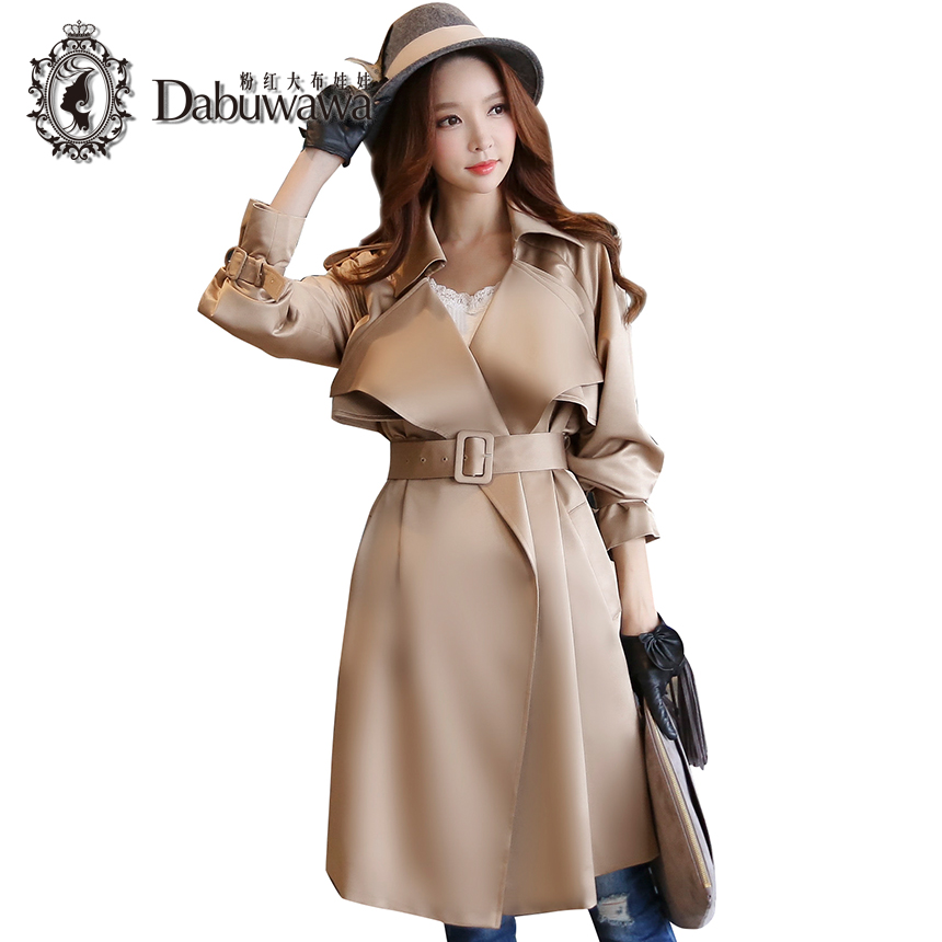 Dabuwawa Camel Autumn Long Sleeve Fashion Womens Windbreakers Formal Trench Coat
