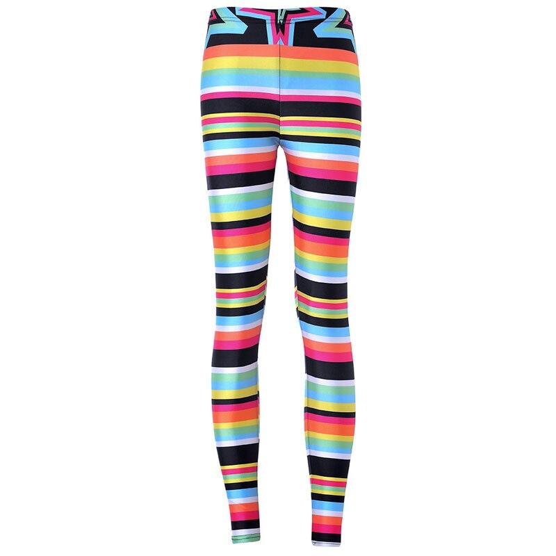 bb6a8c95b Venda quente Nova Marca de Fitness Mulheres Leggings de Comprimento No  Tornozelo Natal Listrado Multicolorido Íris Leggings Abbigliamento Donna