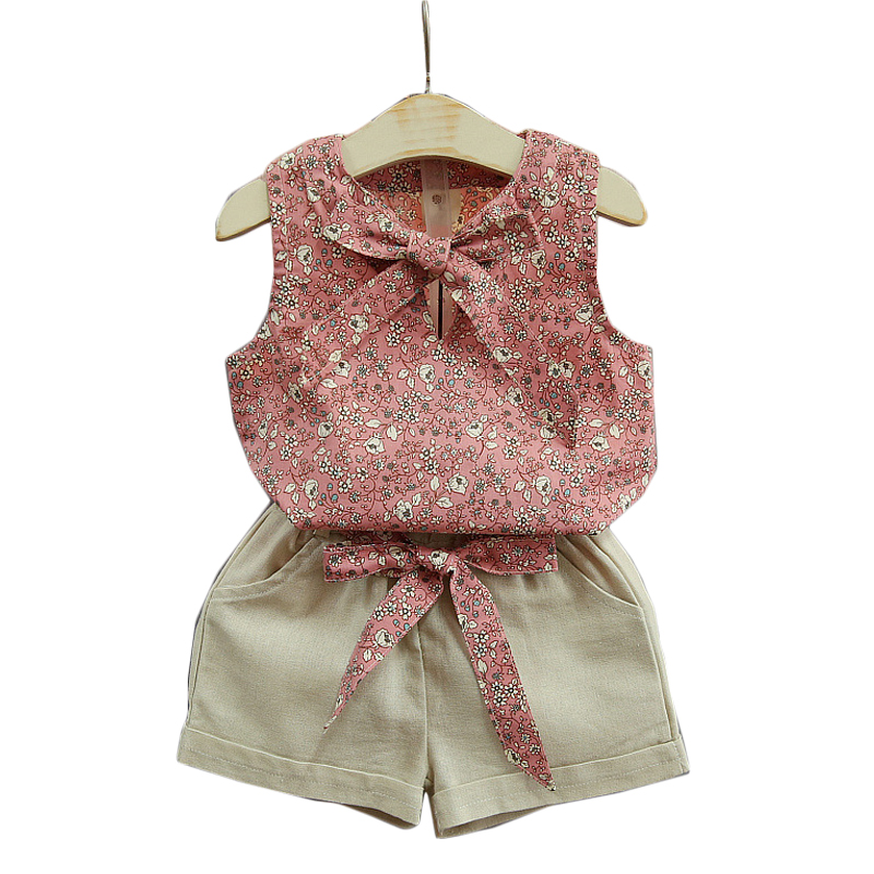 2 3 4 5 6 7 8 Year Girls Clothes Summer Style 2018 New Casual Children Clothing Set Flower Sleeveless Tops Shorts Kids Suits new fashion girls clothing kids clothes summer style sleeveless tops pants 2 pcs casual children suit 3 4 5 6 7 years