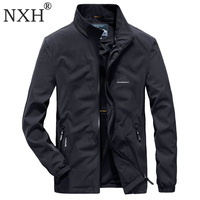 NXH Spring Elastic Thin jaket men Plus size streetwear Stand male light jacket Waterproof Windproof coat 6XL 7XL man clothes