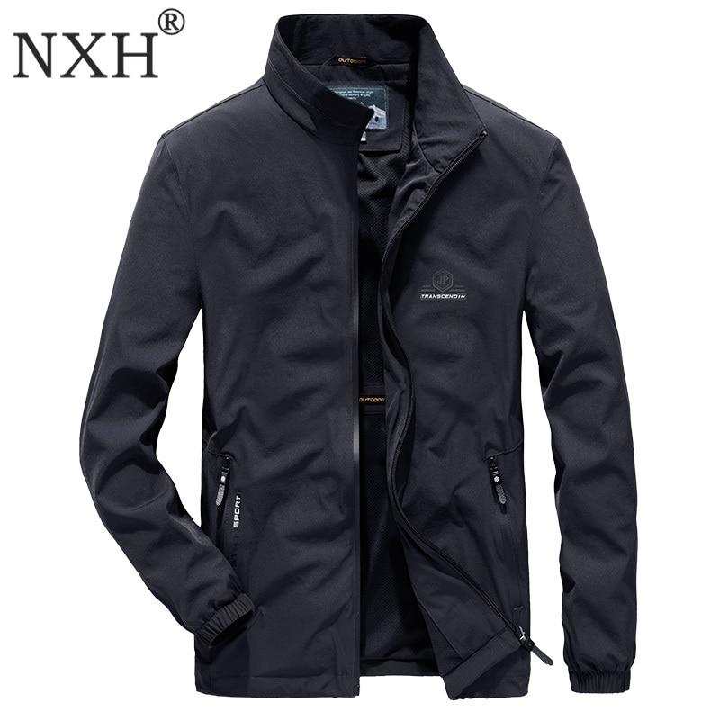 NXH printemps élastique mince jaket hommes grande taille streetwear Stand mâle léger veste imperméable coupe-vent manteau 6XL 7XL homme vêtements