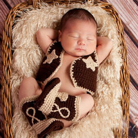 Baby Cowboy Boots And Vest Set Crochet Pattern Infant Costume Outfit Knitted Newborn Photography Photo Prop