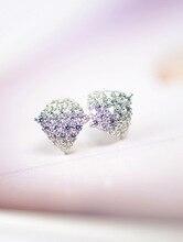 famous brand Korean style women jewelry CZ diamond stud earrings geometric fashion crystal 925 Sterling Silver girlfriend gift