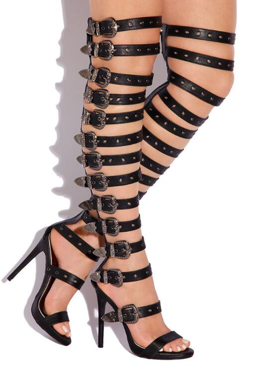 Classic Gladiator Style Women Over The Knee Boots Buckles Strap Ladies Sexy High Heel Boots Summer Hot Female Fashion Dress ShoeClassic Gladiator Style Women Over The Knee Boots Buckles Strap Ladies Sexy High Heel Boots Summer Hot Female Fashion Dress Shoe