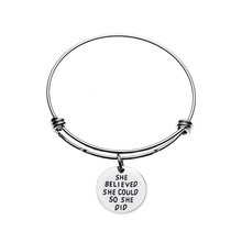 SHE BELIEVED COULD SO DID adjustable BANGLE women round statement bracelets pendants best friend sis forever Bangle girl