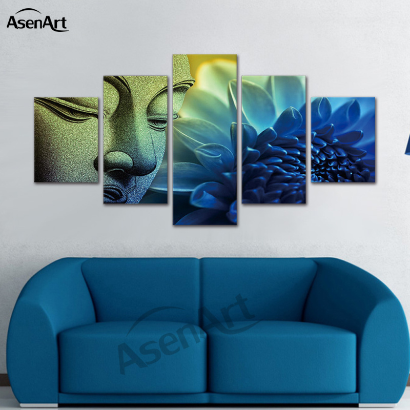 5 Panel Canvas Art Flower Buddha Canvas Painting Wall Picture Print Painting Home Decoration Living Room Framed Ready to Hang