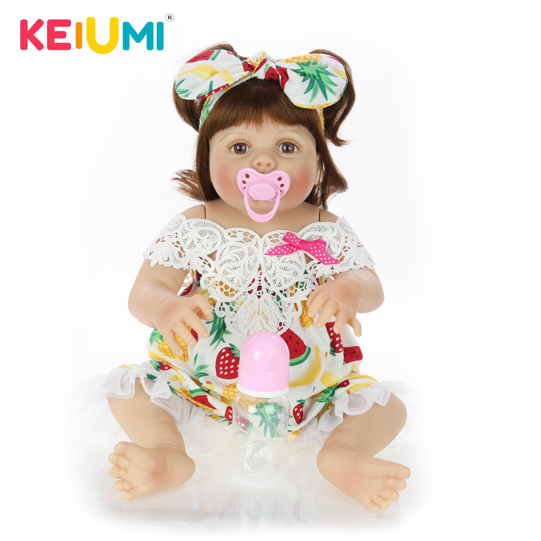 Newest Reborn Baby Dolls 23 Inch Full Silicone Vinyl Body 57 cm Lifelike Newborn Girl Doll