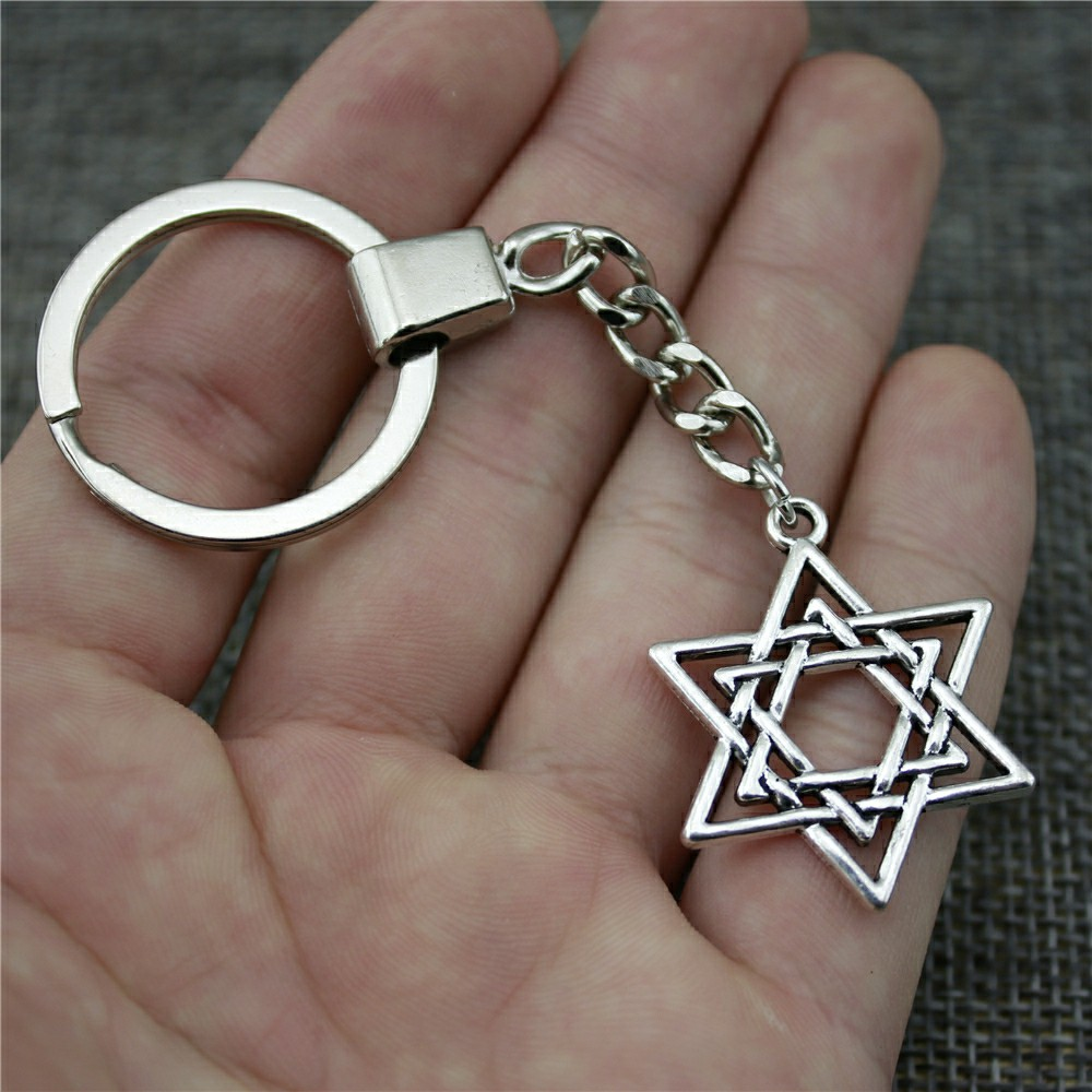 Men Jewelry Key Chain Party Gift Keychains Dropshipping Jewelry 33x26mm Star Of David Antique Silver Key Rings