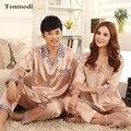 Пижамы для Женщин Роскошный Шелковый Атлас Пижамы Любовь Пижамы Мужчины С Длинными рукавами Стежка Пижама женщин Пара Пижамы Наборы 3XL