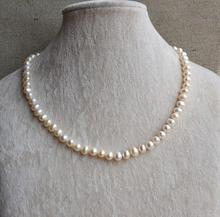 White Pearl Jewelry, 50cm AA 6-7mm Freshwater Pearl Necklace,100% Real Pearls Necklace,Girl's Lasy's Jewelry
