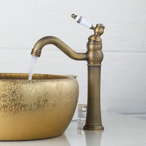Cereamic Single Handle Tall Kitchen Torneira Cozinha Antique Brass Swivel 360 Deck Mount 97159 Wash Basin