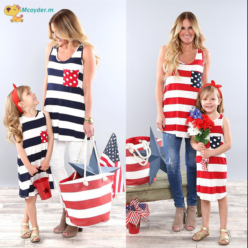 Mother Daughter Striped Dresses Family Matching Outfits for Summer Sleeveless Casual Dress Mom Daughter Clothes Family Look casual scoop collar sleeveless color block striped sundress for women