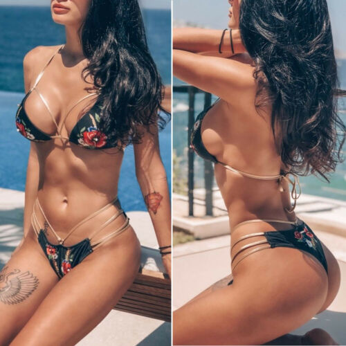 New Sexy UK Hollow Out Sexy Women Push-up Bikini Set Bandage Swimsuit Swimwear Beachwear Suit Bathing Beach Swimming