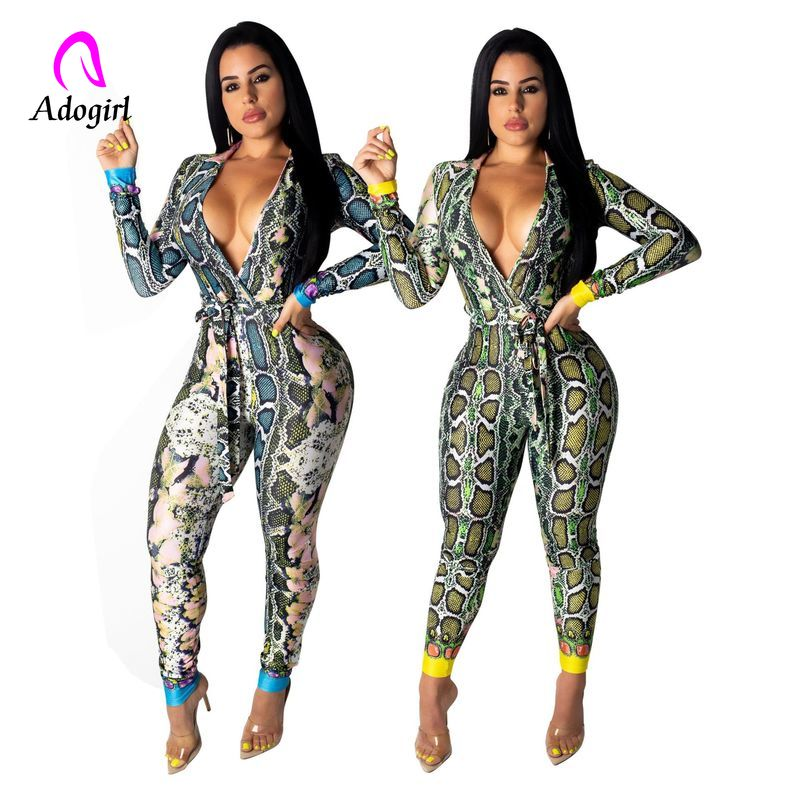 Snake Print Jumpsuits Rompers Womens Summer Deep V Neck Long Sleeve Full Length Bodysuit Casual Club Party One Piece OL Overalls