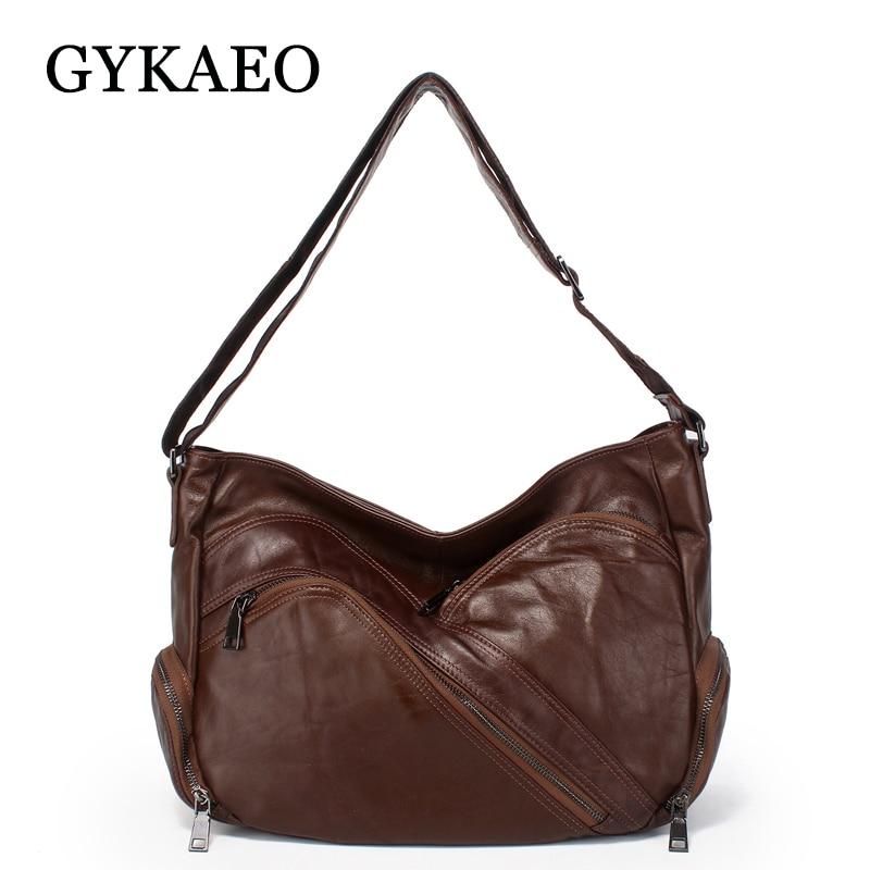 GYKAEO Real Leather Leisure Shoulder Bags Handbags Women Famous Brands Genuine Leather Vintage Messenger Bag Lady