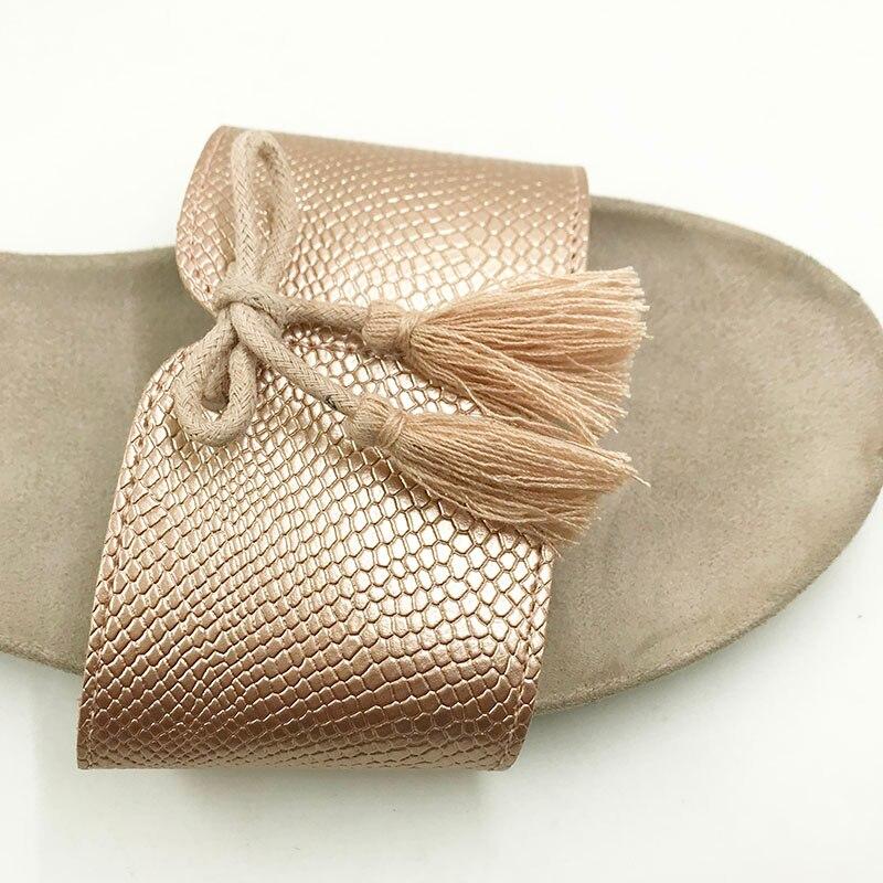 Nouveau 2018 chaussures de Style d'été femmes sandales mode or appartements Top qualité solide Sexy pantoufles taille 5-8 tongs - 5