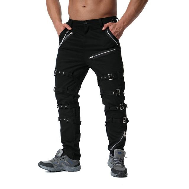 Pantalones Cargo con cremallera de decoración de Metal de alta calidad, Jogger de Hip Hop, pantalón de chándal urbano, ABZ183
