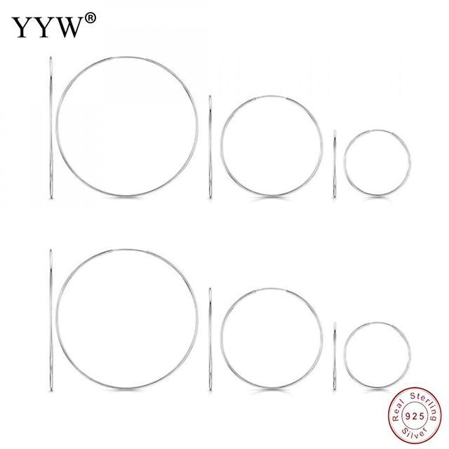 YYW Donne 100% 925 Sterling Silver Orecchino ad anello 40/50/60mm Rotondi del Cerchio Loop Regali Contenitore di Imballaggio semplice Argento Orecchini A Cerchio