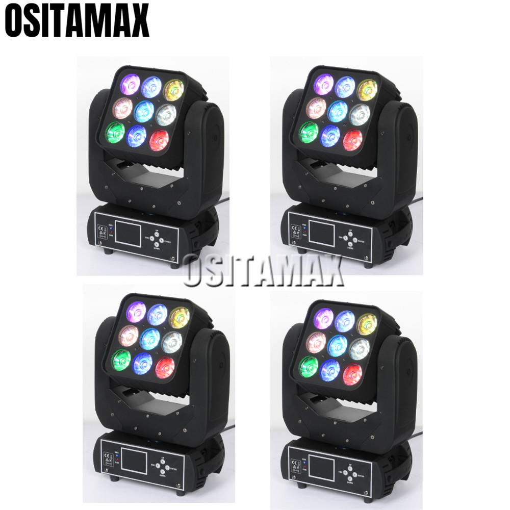 4pcs/lot Matrix 3x3 Led 9x12w Beam Moving Head Light Rgbw 4in1 Quad Color Lumiere Led Stage Light Commercial Lighting Stage Lighting Effect