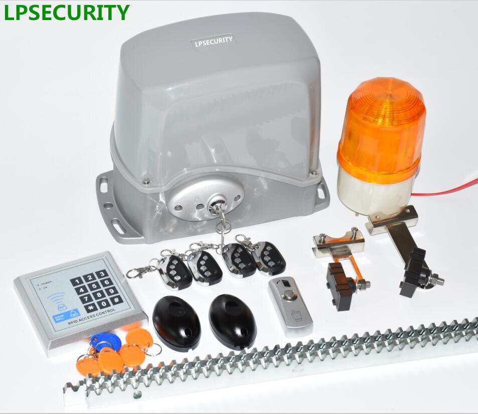 LPSECURITY Sliding Gate Opener electric gate motor 24VDC 800Kg 4m/5m steel rack 1 lamp 1 sensor(GSM button keypad optional)