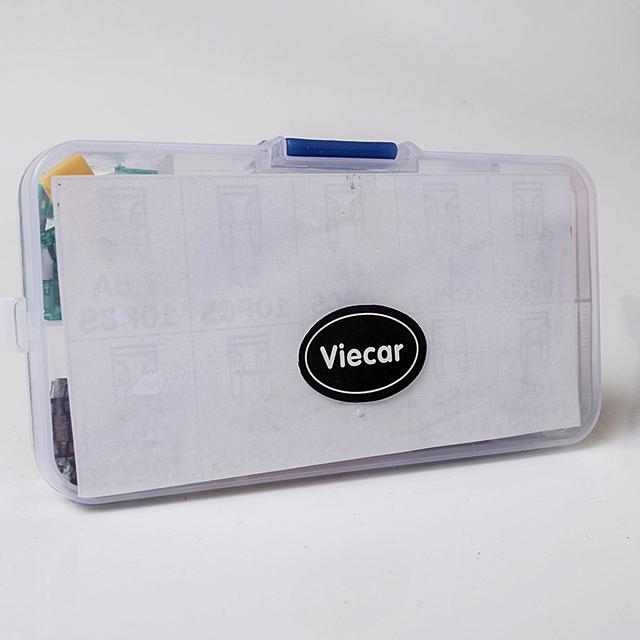 Viecar 100pcs Medium Car Fuses 2A 3A 5A 7.5A 10A 15A 20A 25A 30A 40A + Clip Amp with Plastic Box Assortment Auto Blade Fuse SUV