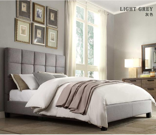 Mechones de respaldo alto contemporáneo europeo moderno tela de dormir suave cama muebles de dormitorio de matrimonio Hecho en China
