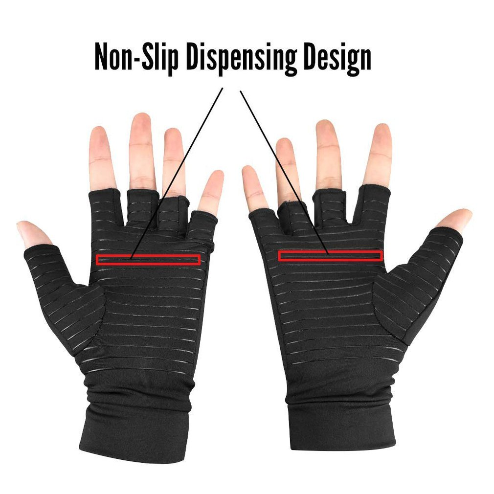 Copper Compression Gloves Arthritis Fit Carpal Tunnel Hand Wrist Brace Support Training  Half Gloves