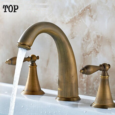 Antique brass sink taps basin mixer hot and cold water mixer tap Double handle Three holes bathroom faucet basin faucet split faucet soft jade gold brass made cold hot switch double handle bathroom shower room three hole mixer taps