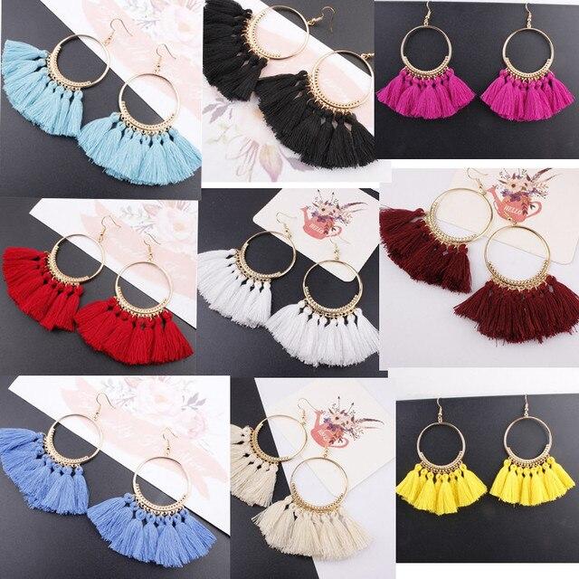 Tassel Earrings For Women Ethnic Big Drop Earrings Bohemia Fashion Jewelry 1