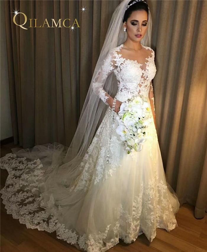 2018 Long Sleeve A Line Wedding Dresses Vintage Robe De