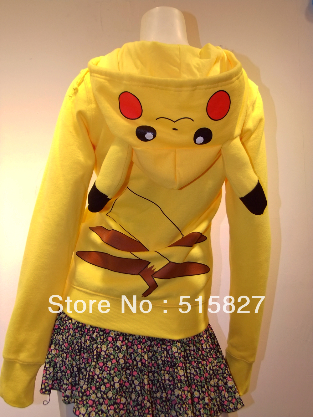 Fashion Japan Anime Cool Pokemon Pikachu Casual Hoodie Hoody Cosplay Costume Clothes Zip UP Cotton Character Hoody
