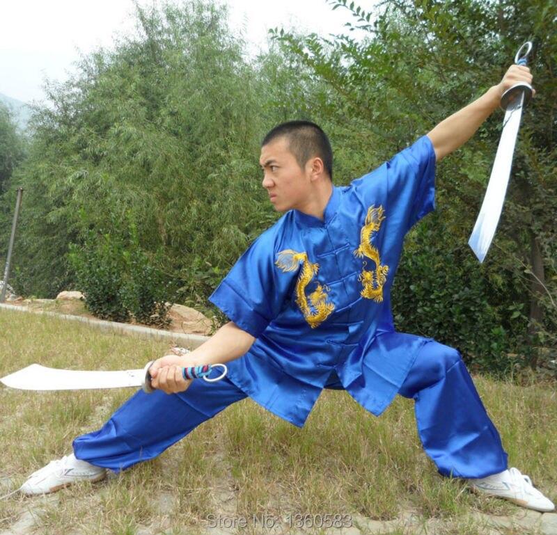 7 couleurs Unisexe enfants kung fu Broderie dragon costume enfants arts  Martiaux performance vêtements Taiji uniforme 2c28a2331ec