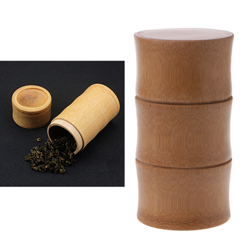VFGTERTE 1PC Natural Bamboo Tube Tea Box Airtight Small Container Spice Storage Jar With Lid Home Office Tea Caddies