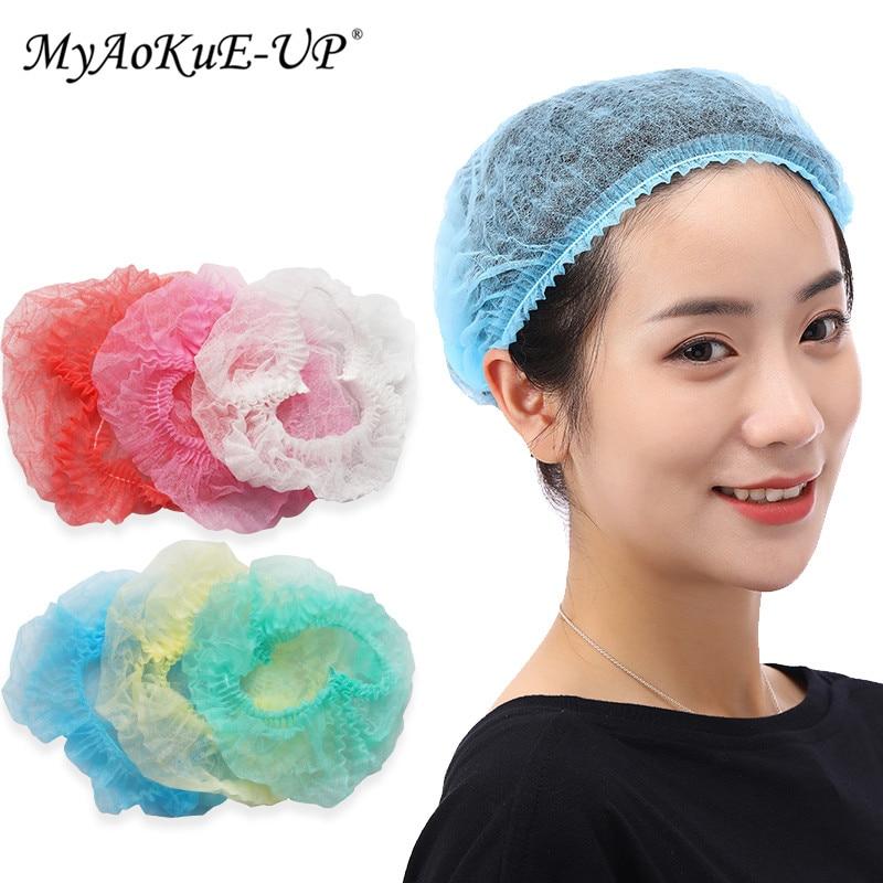 100PCS Disposable Caps Anti Dust Hat Caps For Spa Beauty Accessories One-Off Elastic Shower Cap