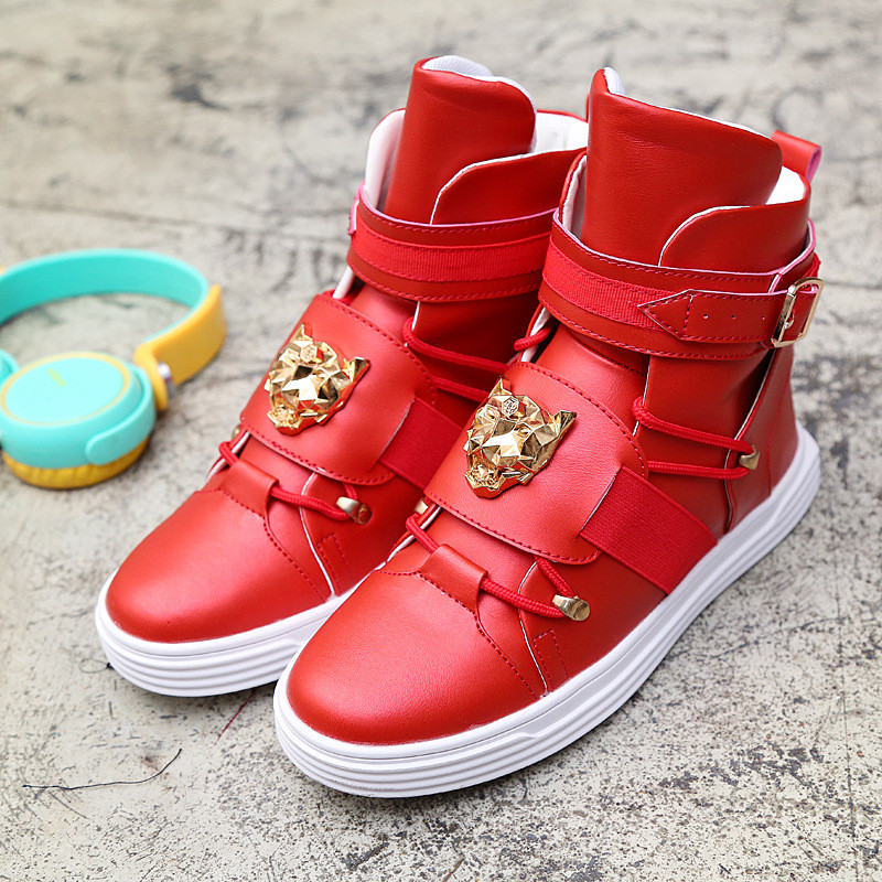 2017 Spring And Autumn Famous Brand Men High Top Casual Metal Head Shoes Flat Fashion Men Zapatos Hombre Shoes Men hot sale 2016 top quality brand shoes for men fashion casual shoes teenagers flat walking shoes high top canvas shoes zatapos