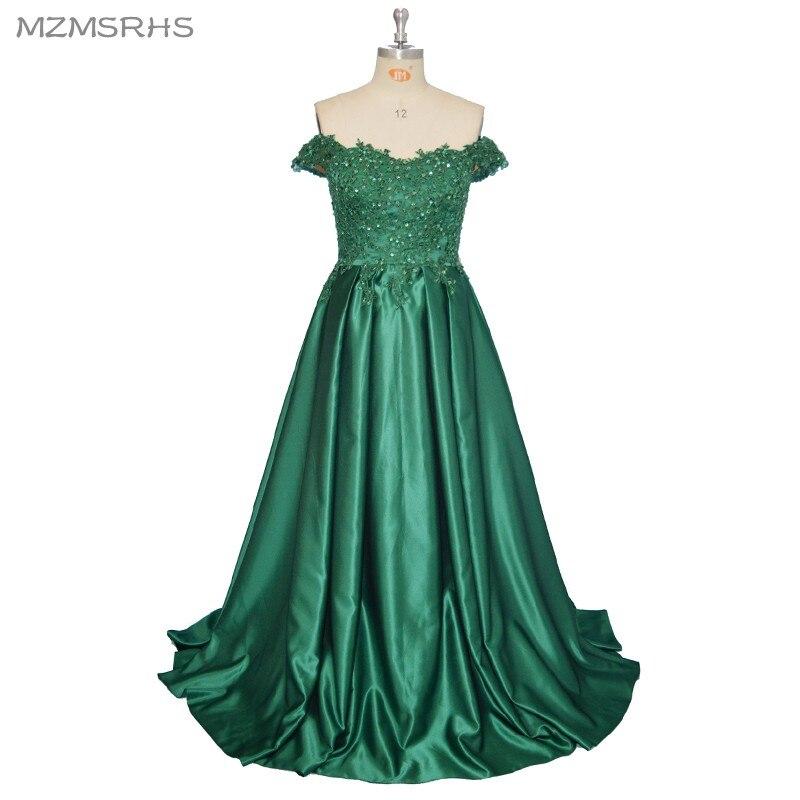 2017 élégant chérie robes de soirée longue ligne vert dentelle fête robes de bal Robe formelle Robe de soirée