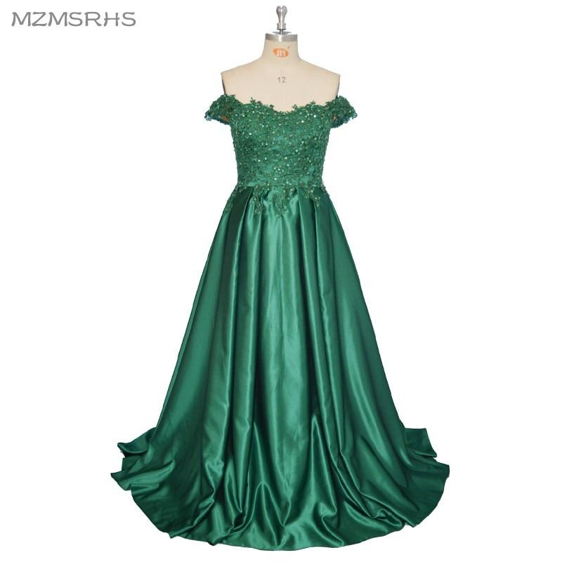 2017 Елегантни сватбени вечерни рокли с дълги линии Зелената дантелена рокля за рокли с официални рокли