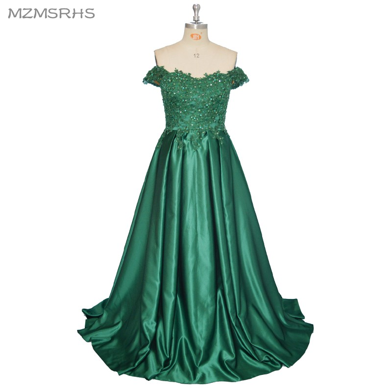 2017 Elegan Sayang Evening Dresses Panjang A Line Green Lace Partai Prom Dresses Formal Dress Jubah de Soiree